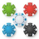 Poker Chips Vector. Set Classic Colored Poker Chips On White. Red, Black, Blue, Green Casino Chips Illustration vector illustration