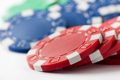 Poker chips on white Stock Images