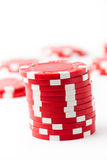 Poker chips on white Royalty Free Stock Photography