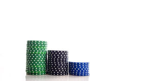 Poker chips. With white background royalty free stock image