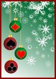 Poker in christmas. Christmas ball with poker symbol Stock Photo