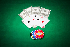 Poker cloth, a deck of cards and chips Royalty Free Stock Photo
