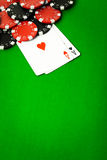Poker cloth, a deck of cards Royalty Free Stock Image