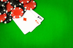 Poker cloth, a deck of cards Royalty Free Stock Photo