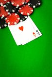 Poker cloth, a deck of cards Stock Image