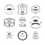 Poker club and casino emblems set isolated vector stock illustration