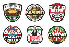 Casino poker club sign, premium jackpot gambling. Poker club signs, casino gambling game icons. Vector symbols of casino croupier with gamble cards, wheel of vector illustration