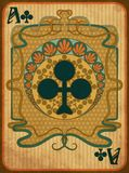 Poker clubs card in art nouveau style, vector royalty free illustration