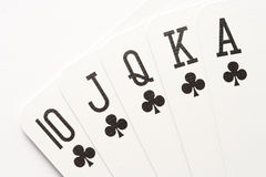 Poker - clubs royal flush Stock Images