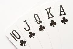 Poker - clubs royal flush. Poker hand - clubs royal flush, close-up Stock Images