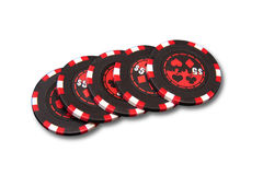 Poker colored chips. Isolated texas poker colored chips Royalty Free Stock Photo
