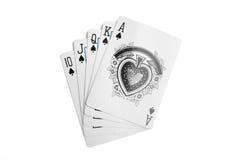 Poker combination. Highest winning poker combination, straight flush Royalty Free Stock Photo