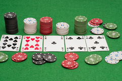 Poker combination and chips Stock Photo
