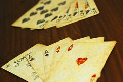 Free Poker Combinations On The Wooden Table Stock Photos - 95447153