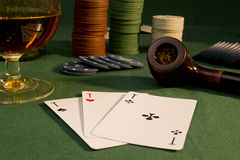 Poker concept with cards on green table Royalty Free Stock Photo