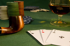 Poker concept with cards on green table Stock Images