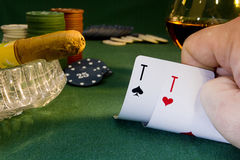 Poker concept with cards on green table Royalty Free Stock Photos