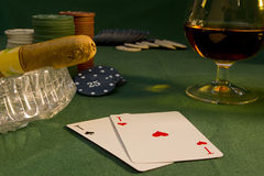 Poker concept with cards on green table Royalty Free Stock Image
