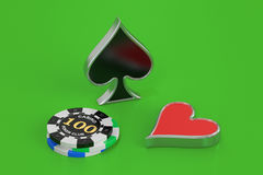 Poker concept, 3D rendering Stock Photography