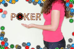 Poker concept. The girl is holding a poker chip stock images