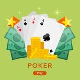 Poker Conceptual Vector Web Banner in Flat Design Stock Photography