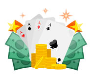 Poker Conceptual Vector Web Banner in Flat Design. Poker concept vector web banner in flat style. Cards with aces, dollar bills, golden coins. For gambling Stock Photos