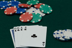 Poker Dead Mans Hand with chips Royalty Free Stock Images