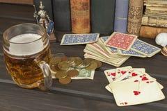 Poker dei giochi con le carte L'insieme di conquista Flash reale in mazza Fotografia Stock Libera da Diritti