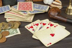 Poker dei giochi con le carte L'insieme di conquista Flash reale in mazza Fotografia Stock