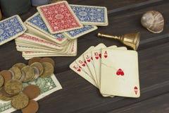 Poker dei giochi con le carte L'insieme di conquista Flash reale in mazza Fotografie Stock Libere da Diritti