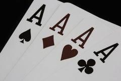 Poker delle carte da gioco del casinò degli assi Fotografie Stock