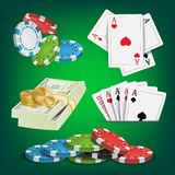 Poker Design Elements Vector. Money Stacks, Chips, Playing Gambling Cards. Royal Casino Retro Poker Club Illustration Royalty Free Stock Image