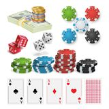 Casino Design Elements Vector. Poker Chips, Playing Cards, Craps. Isolated Illustration. Poker Design Elements Vector. Money Stacks, Chips, Playing Gambling royalty free illustration