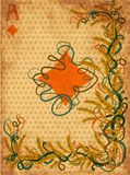 Poker diamonds casino card in art nouveau style, vector Royalty Free Stock Images