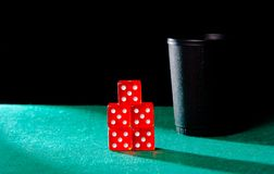 Poker with dice cube Royalty Free Stock Image