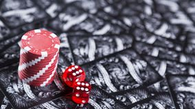 A poker and dice gamble stock photo