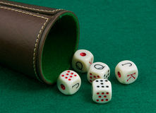 Poker dice on a green background. Five dice to play poker with cup. On a green background Royalty Free Stock Photo