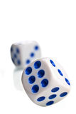 Poker dices thrown toward camera Stock Photography