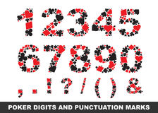 Poker digits and punctuation marks Stock Images