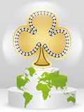 Poker element - clover. On the podium Stock Photos