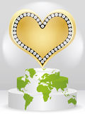 Poker element - heart. Poker element - golden heart on podium Stock Photo
