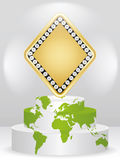 Poker element - rhombus. Poker element - golden rhombus on podium Royalty Free Stock Photos