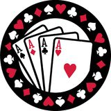 Poker emblem with four aces playing cards suits. Vector vector illustration