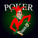 Poker emblem with joker and playing cards Stock Images