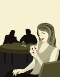 Poker Face. Woman with pocket aces winning at poker. Original illustration Stock Photo
