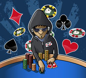Poker face. Cartoon-style illustration: young poker player with hood, eyeglasses and headphones, holding some chips. Grunge dark background with chips and card Stock Photography