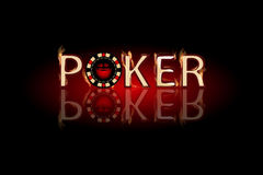 Poker fire text. chip on a dark background. Simple fashion symbol for web site design or a button for mobile applications. Logo Illustrations Royalty Free Stock Photos