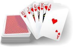 Free Poker Flush Hearts Cards Deck Royalty Free Stock Photos - 40819558