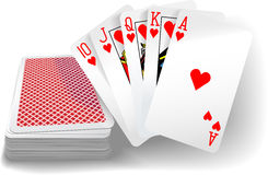 Poker Flush Hearts Cards Deck. Royal flush hearts five card poker hand playing cards deck stock illustration