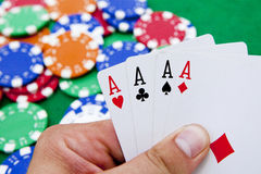 Poker, four aces Stock Images